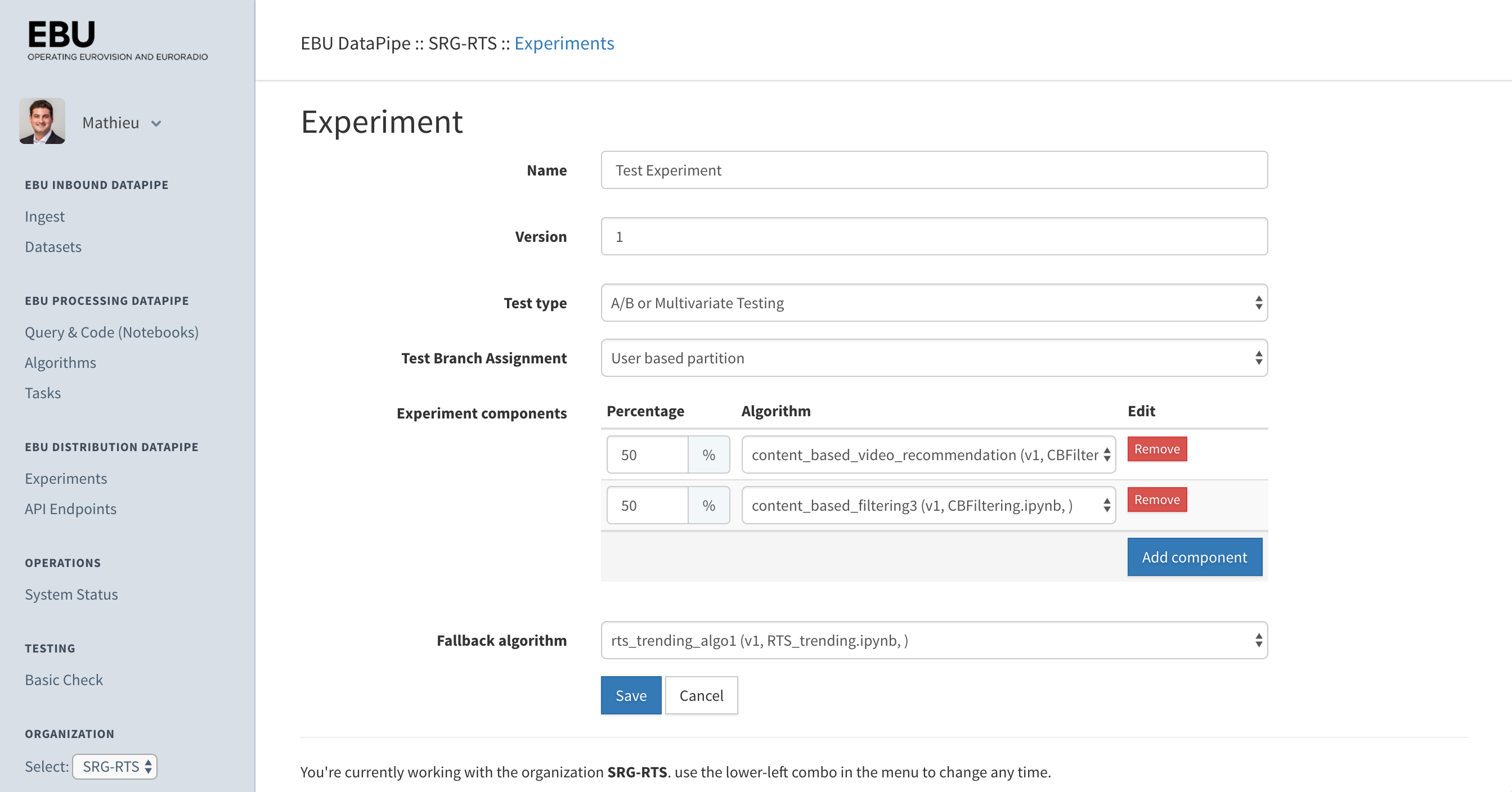 Manager Options on Experiments
